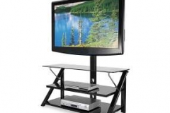 Black+44+Inch+Swivel+Glass+TV+Stand+with+Displayed+TV+on+White+Background